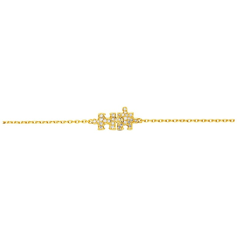 Akillis Mini Puzzle Charm Duo Bracelet 18 Karat Yellow Gold White Diamonds For Sale