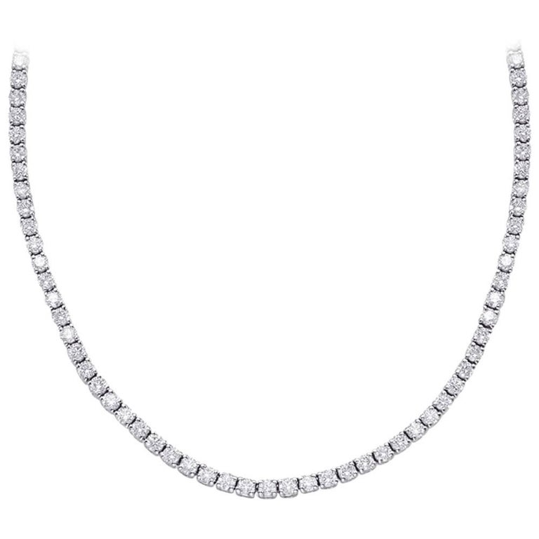 10.83 Carat Diamond Tennis Necklace