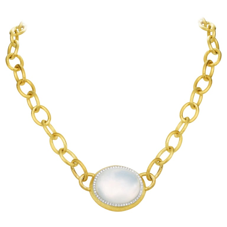 Milky Quartz Link Necklace 18 Karat Yellow Gold
