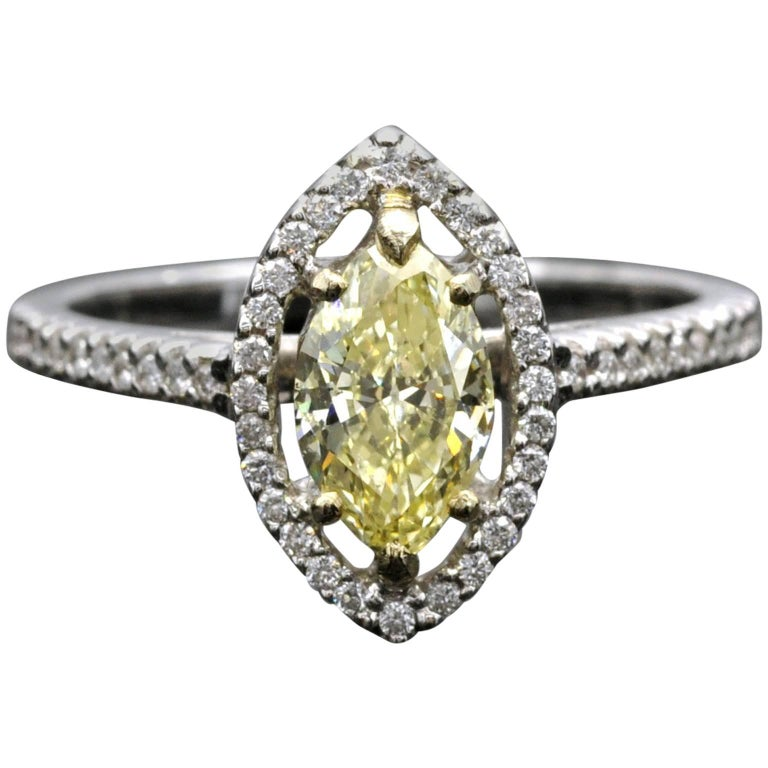 Fancy Yellow Marquise Diamond Halo Engagement Ring