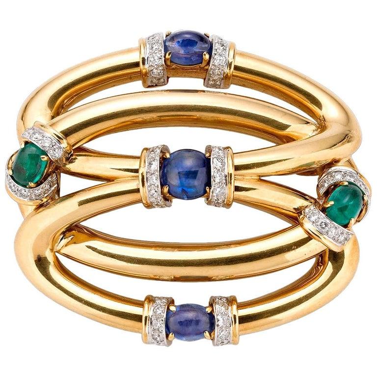 Diamond, Sapphire and Emerald Brooch by David Webb