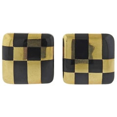 Tiffany & Co Jade Inlay Gold Checkered Earrings