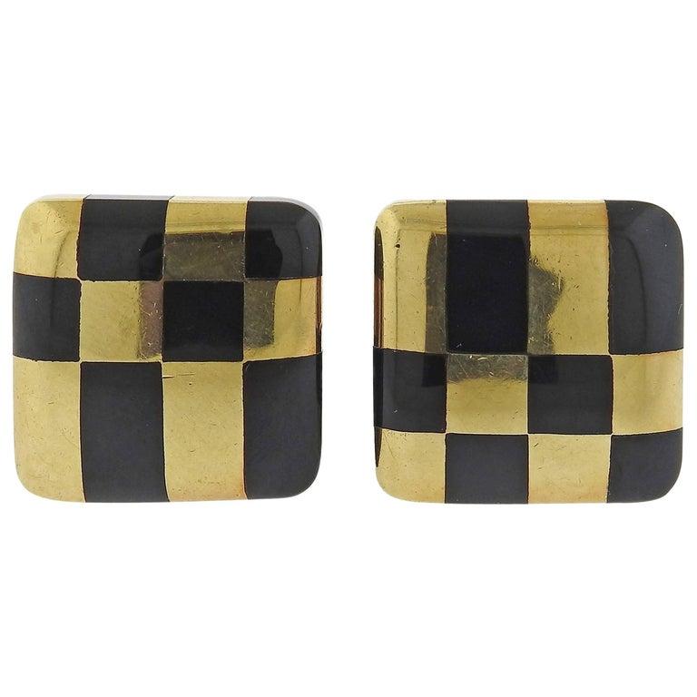 Tiffany & Co Jade Inlay Gold Checkered Earrings