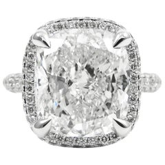 GIA Certified 5.06 Carat Cushion H VS2 Diamond Pave Halo Frame Ring