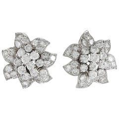 Van Cleef & Arpels Diamond Flower Ear Clips