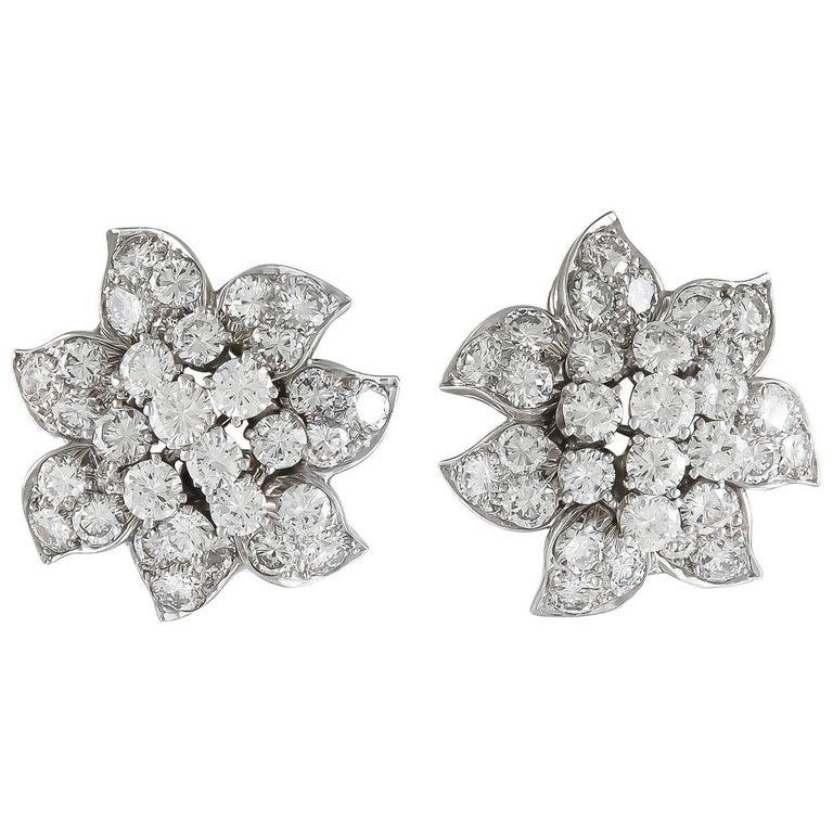 Van Cleef & Arpels Diamond Flower Ear Clips