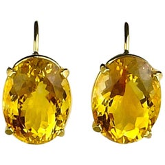 20.8 Carat Citrine 14 Karat Gold Earrings