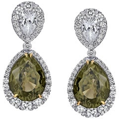 Pear Shape Green Sapphire and Diamond Platinum Drop Earrings