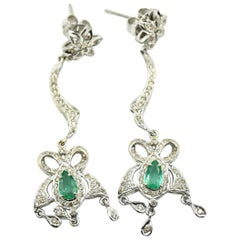 Diamond and Emerald Dangle Earrings