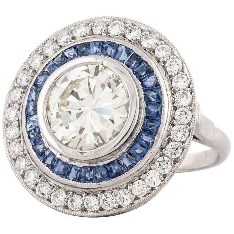 Diamond and Sapphire Target Ring For Sale