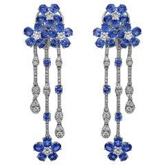 Emilio Jewelry 11.32 Carat Rich Blue Floral Sapphire Diamond Earrings