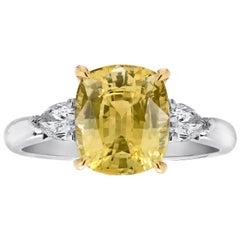4.55 Carat Cushion Yellow Sapphire and Diamond Platinum Ring