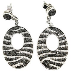 18k White Gold Black Sapphire and 1.64cttw Round Diamond Dangle Earrings