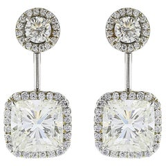 Cushion Cut Diamond Drop Halo Set Earrings 5.83 Carat Total Weight