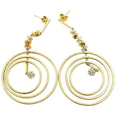 18k Yellow Gold and 5.50cttw Diamond Circle Dangle Earrings