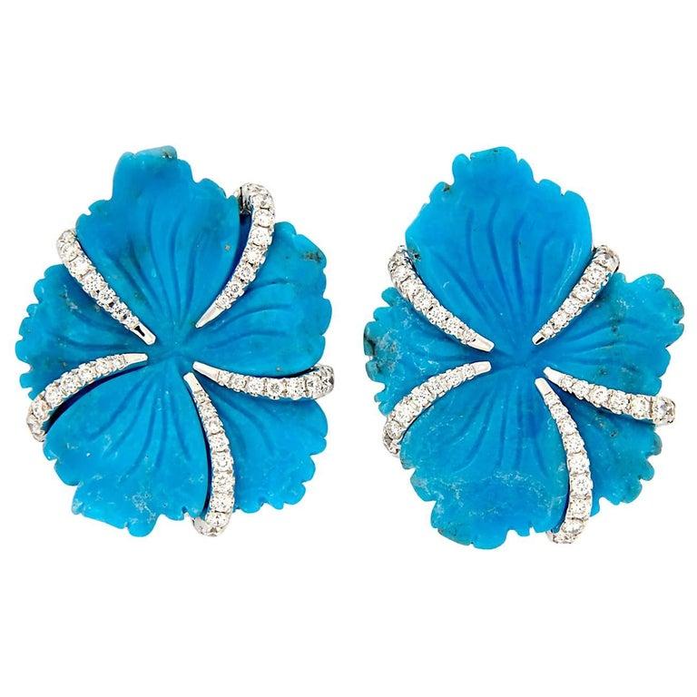 Goshwara Carved Turquoise Diamond Earrings