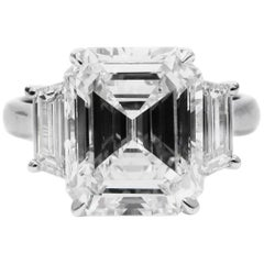 GIA Certified 4.14 Carat Emerald Cut Diamond G VS1 Platinum Ring