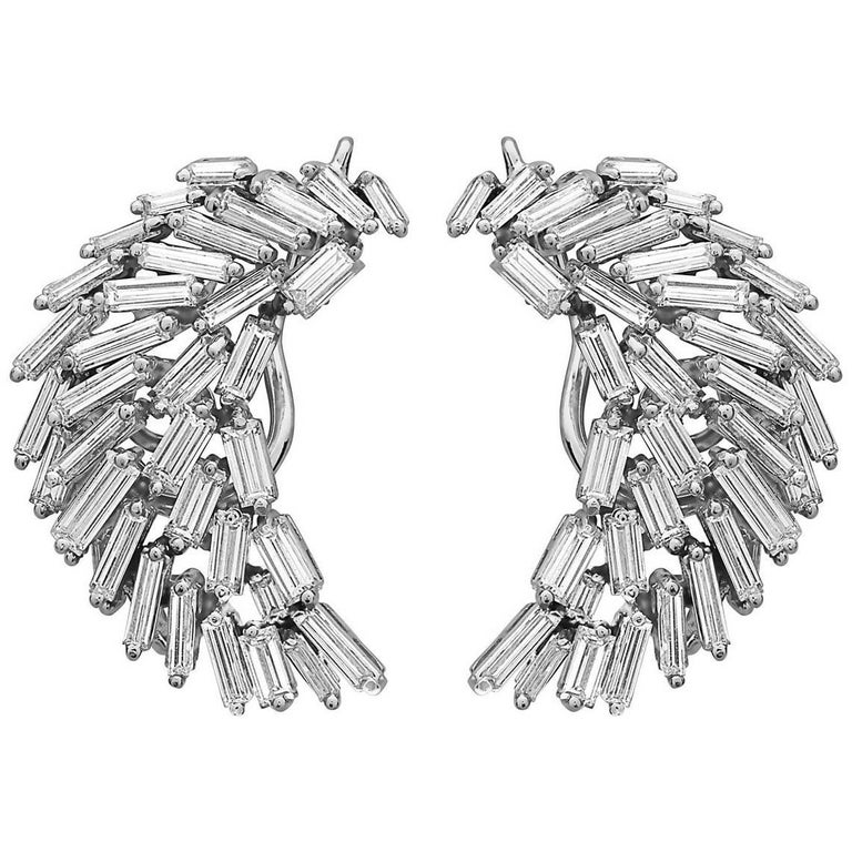 Emilio Jewelry 7.00 Carat Baguette Diamond Art Deco Earrings
