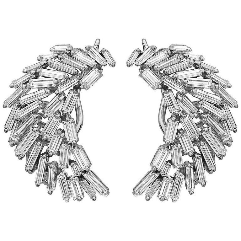 7.00 Carat Baguette Diamond Art Deco Earrings