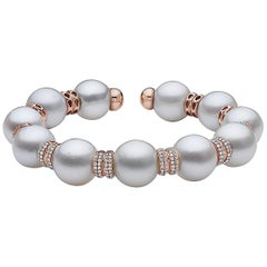 Enormous White South Sea Pearl Diamond Cuff