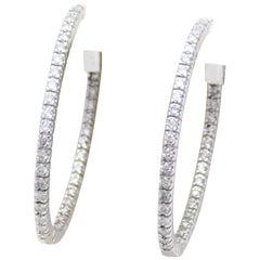 1.50ct Inside Out Diamond Oval Hoop Earrings in 14k White Gold