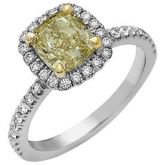 GIA Certified Fancy Yellow Cushion Diamond Ring