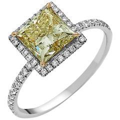 GIA Certified 2.28 Carat Fancy Yellow Princess Cut Diamond Ring