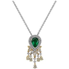 4.53 Carat Pear Shape Emerald Yellow Diamond Necklace