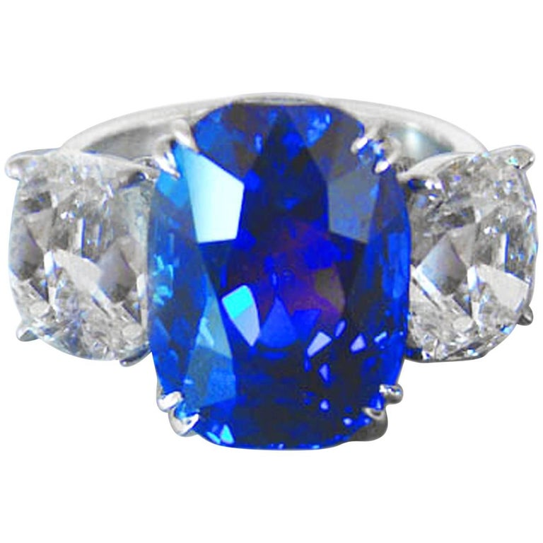 10.88 Carat Jewel of Kashmir Sapphire and Diamond Three Stone Ring For Sale