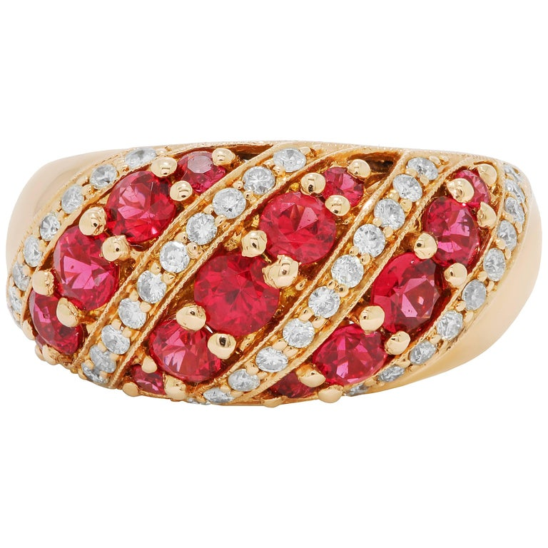 Spinel Diamond Rose Gold Band Ring