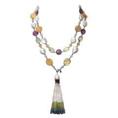 Marina J Citrine, Pearl, Amethyst, Aquamarine and Peridot Sautoir with 14 K Gold