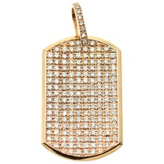 14k Rose Gold and Diamond Dog Tag Pendant 9.90cttw