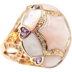 14k Rose Gold Mother of Pearl Topaz Amethyst and 0.50cttw Diamond Cocktail Ring