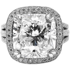 GIA Certified 6.19 Carat Cushion Cut Diamond Platinum Pave Split Shank Ring