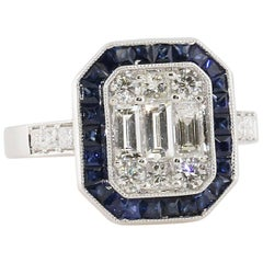 Mosaic Emerald Cut Diamond and Sapphire Engagement Ring, 18 Karat White Gold