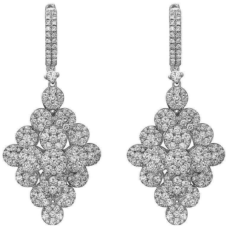 Emilio Jewelry 5.60 Carat Pave Drop Diamond Earrings