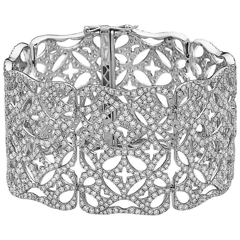 Emilio Jewelry 23.00 Carat Extra Wide Diamond Bracelet
