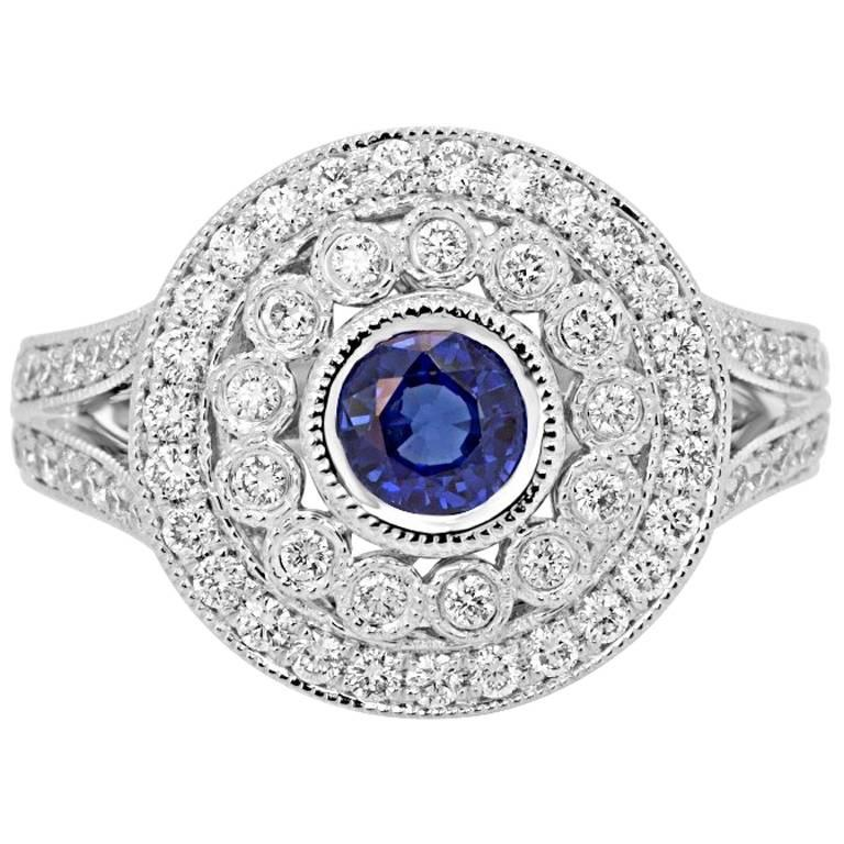 Sapphire Diamond Double Halo Gold Ring