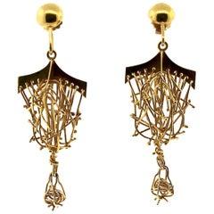 Brutalist  Gold Hanging Earring