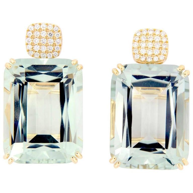 Goshwara Prasiolite Diamond Drop Earrings