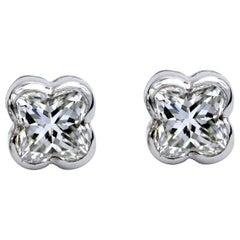 Lily Cut Diamond White Gold Stud Earrings