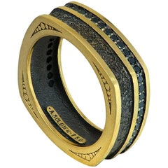 Diamond Gold Textured Men's Ring Band One of a Kind