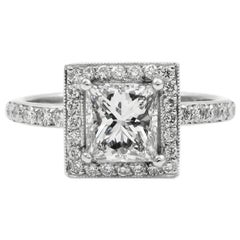 GIA Certified 0.90 Carat Princess Cut Diamond E VS1 Platinum Pave Halo Ring
