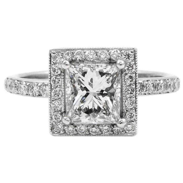 GIA Certified 0.90 Carat Princess Cut Diamond E VS1 Platinum Pave Halo Ring