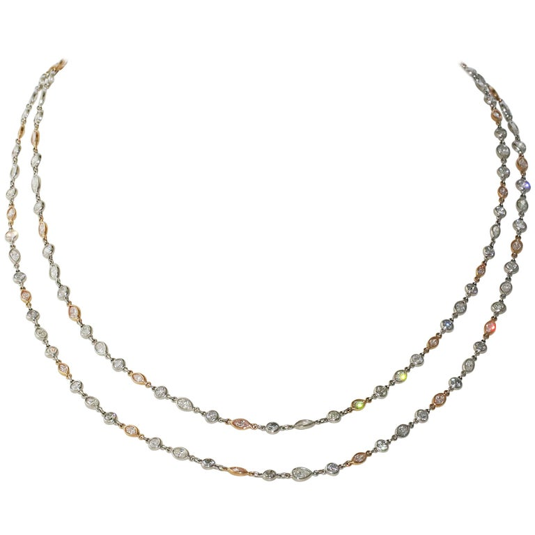 Platinum and 18kt Rose Gold Pink and White Diamond by the Yard Necklace, 16.25ct For Sale