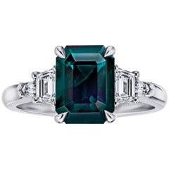 3.83 Carat Emerald Cut Green Sapphire and Diamond Platinum Ring