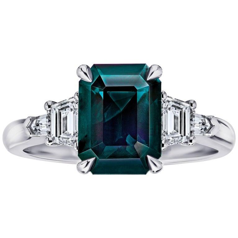 3.83 Carat Emerald Cut Green Sapphire and Diamond Platinum Ring For Sale