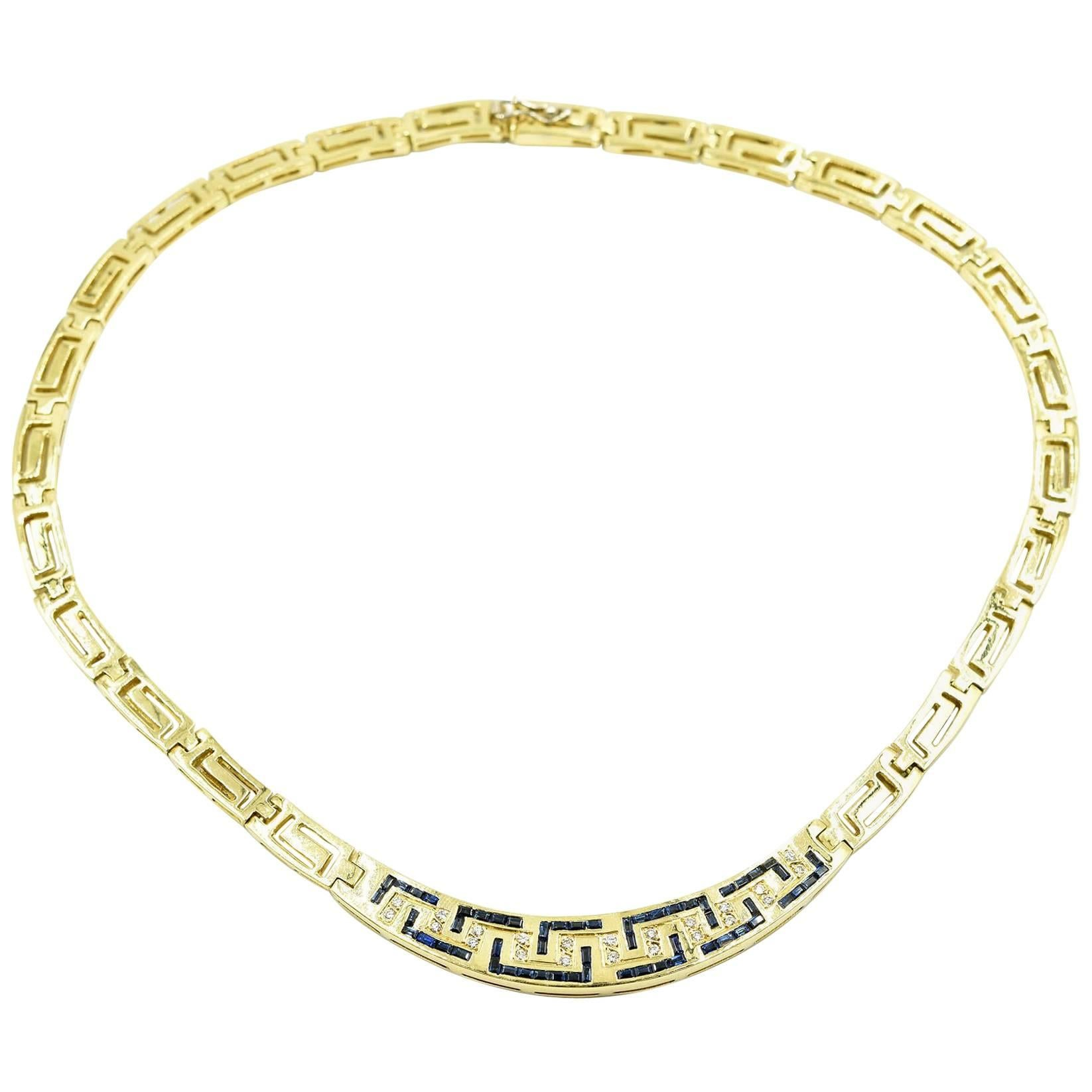 18k Yellow Gold, Diamond and Sapphire Greek Key Collar Necklace