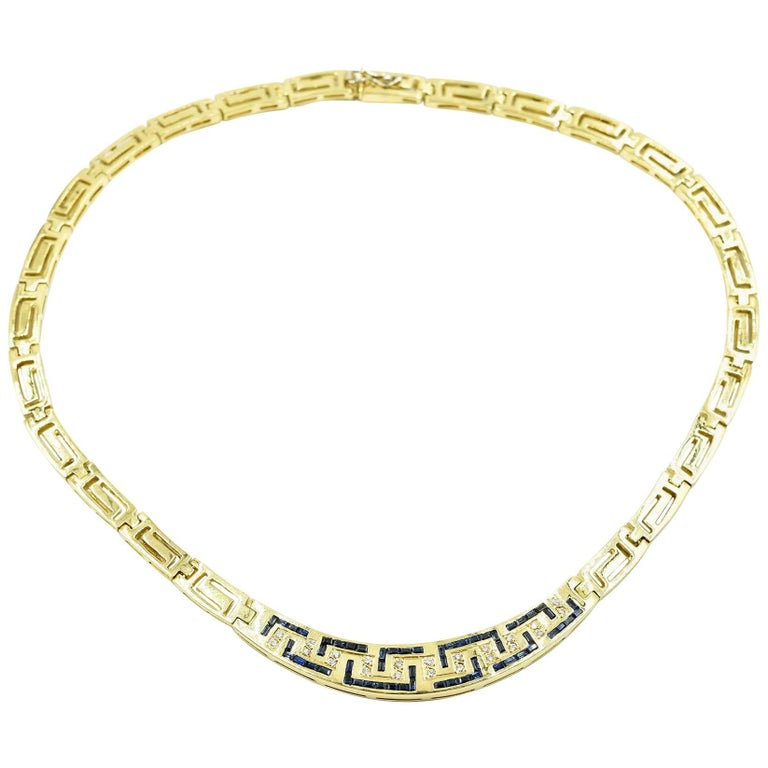 b43200e8f 18k Yellow Gold, Diamond and Sapphire Greek Key Collar Necklace For Sale