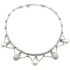 18k White Gold, 6.36cttw Diamond and Pearl Collar Necklace